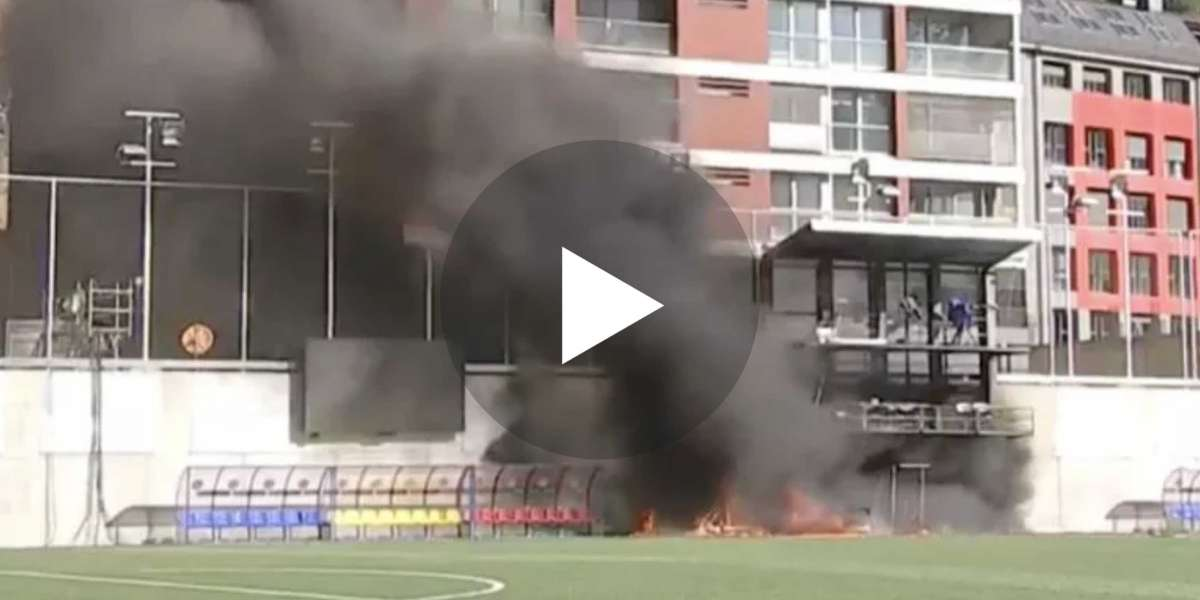 Video: Pitch side fire breaks out at Estadi Nacional ahead of Andorra v England